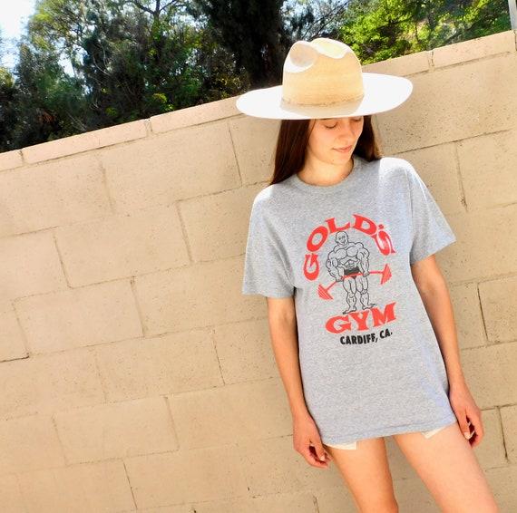 Gold's Gym California Tee // vintage Cardiff Beach 70s boho shirt t-shirt t dress USA hippie hippy cotton grey 80s tee // O/S