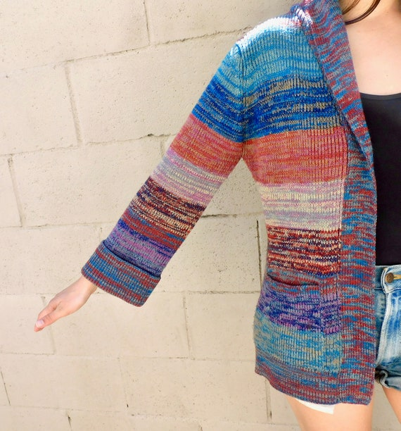 Vintage 1970s Rainbow Belted Cardigan Sweater Size Small