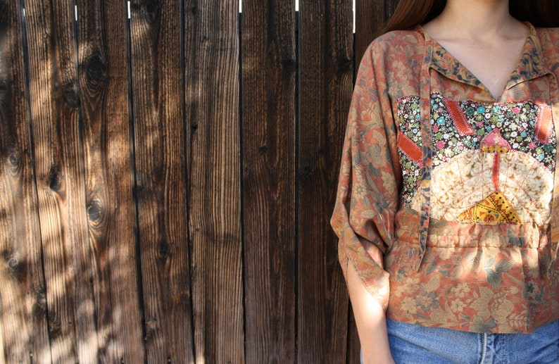 Emma Blouse  vintage high waist boho hippie embroidered 60s 1960s 70s 1970s quilted dress hippy floral cotton brown  SM