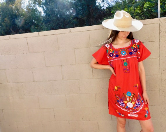Anel Dress // vintage 70s Mexican hand embroidered floral mini dress 1970s boho hippie cotton hippy red // O/S