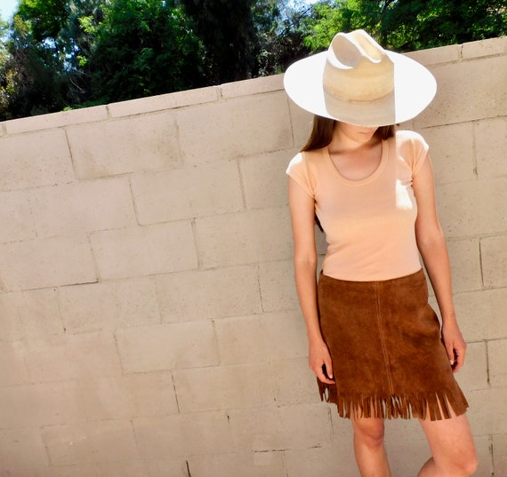 Woodstock Suede Skirt // vintage 60s 70s boho sun dress hippie festival mini leather // S/M