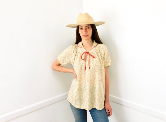 Marfa Blouse // vintage 70s 1970s cotton western boho shirt top dress country // O/S