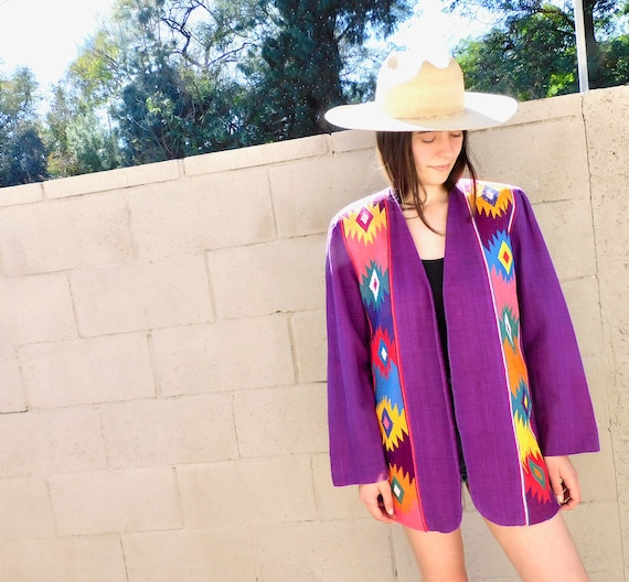 Guatemalan Jacket // vintage woven dress blouse boho hippie cotton purple blazer hippy // O/S