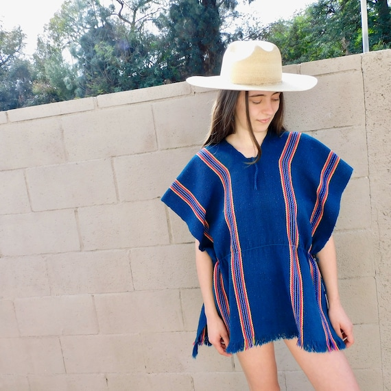 Poncho Blouse // vintage 70s 1970s tunic boho hippie Mexican mini dress hippy // O/S