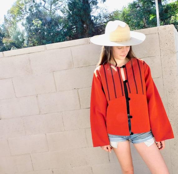 Guatemalan Jacket // vintage woven dress blouse boho hippie cotton red oversize hippy // O/S