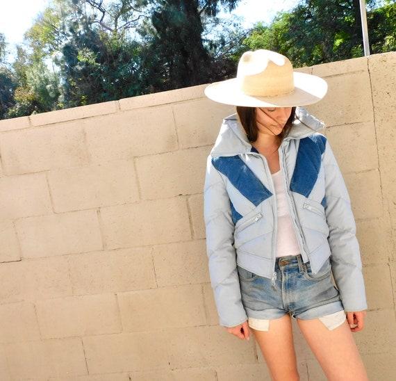 Snowbowl Puffer Jacket // vintage boho hippie hippy coat dress ski snow 80s 70s 1970s blue // S/M
