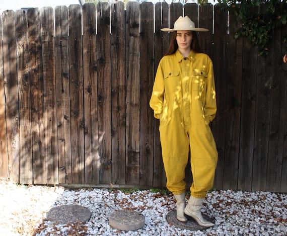 Saffron Coveralls // vintage 70s denim jumpsuit dungarees overalls jean boho hippie jeans dress military boyfriend yellow oversize // O/S