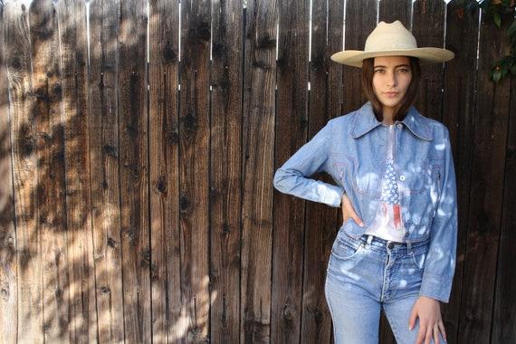 East Nashville Jean Blazer // vintage 70s denim cropped 1970s boho western country cotton hippie dress jacket blouse // S Small