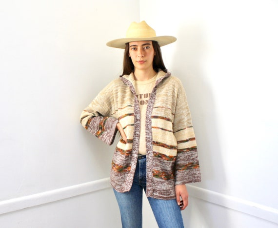 Earth Sign Hooded Cardigan Sweater // vintage 70s knit hippie dress blouse hippy 1970s hood space dye brown // S/M