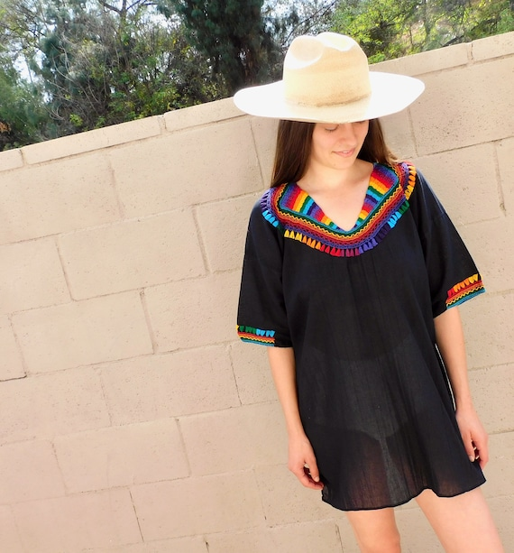 Hand Embroidered Mexican Blouse // vintage cotton boho hippie Mexican embroidered dress hippy off black // O/S