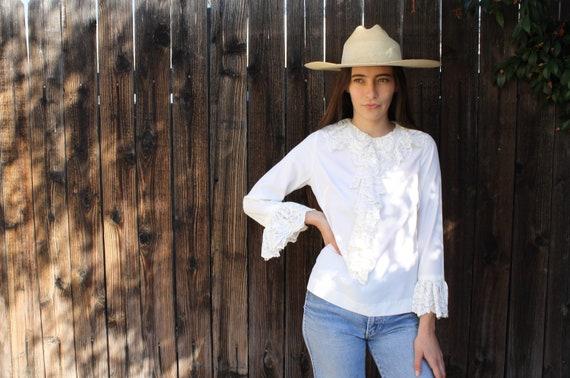 Birkin Blouse // vintage 70s cream lace ivory dress Victorian country boho hippie white glam // S/M