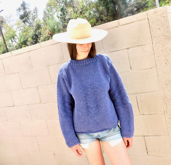 Dusty Lilac Sweater // vintage 80s cropped knit hippie dress blouse hippy 1970s purple // O/S