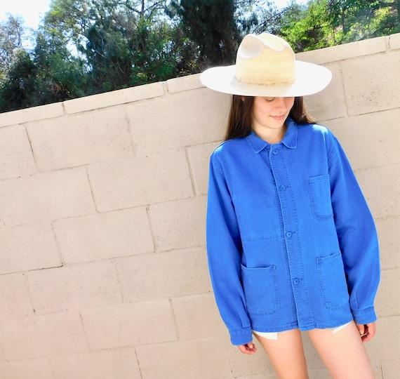 French Chore Coat // vintage 70s indigo faded hippy jean jacket boho hippie blouse shirt dress 1970s denim work painters indigo // O/S
