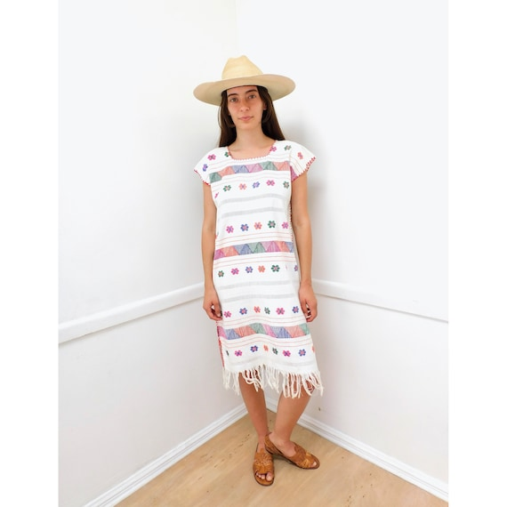 Oaxacan Huipil Dress // vintage 70s embroidered white boho hippie Mexican hippy midi hand loomed loom 1970s woven cotton // S/M