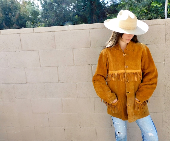 Bozeman Jacket // vintage 60s 70s brown suede boho country western hippie dress fringe // O/S
