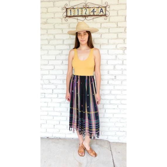Indian Skirt // vintage black dress boho hippie high waist hippy midi 70s 80s // S/M