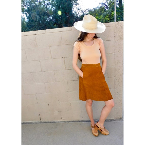 Woodstock Suede Skirt // vintage 60s 70s boho sun