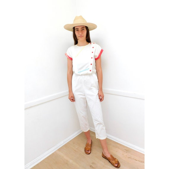 You Babes Jumpsuit // vintage white 70s 80s high w