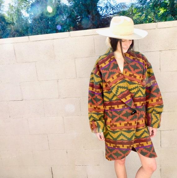Taos Blanket Coat // wool union USA boho hippie jacket dress southwest southwestern oversize 80s 90s // O/S