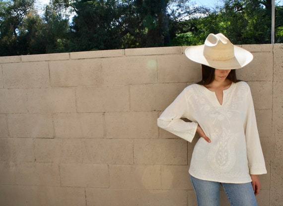 Istanbul Ivory Blouse // vintage boho gauze cotton dress embroidered hippie white 70s 80s hippy Indian // O/S