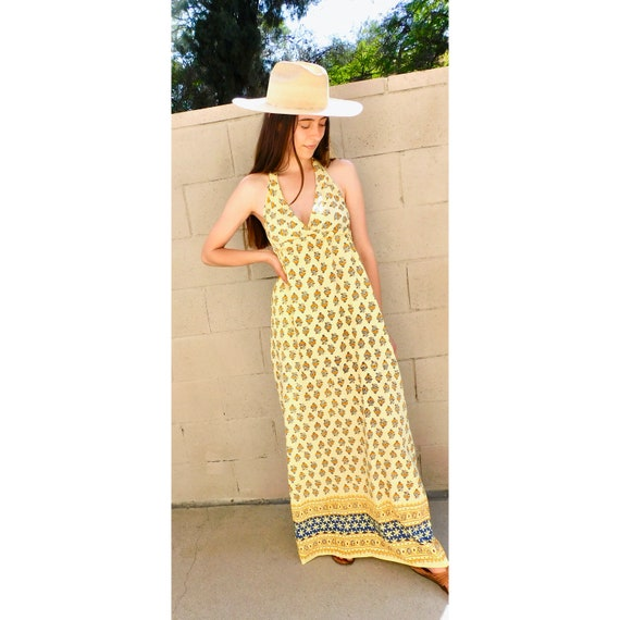 Indian Halter Dress // vintage boho hand blocked yellow sun cotton hippie hippy maxi 70s empire high waist // S/M