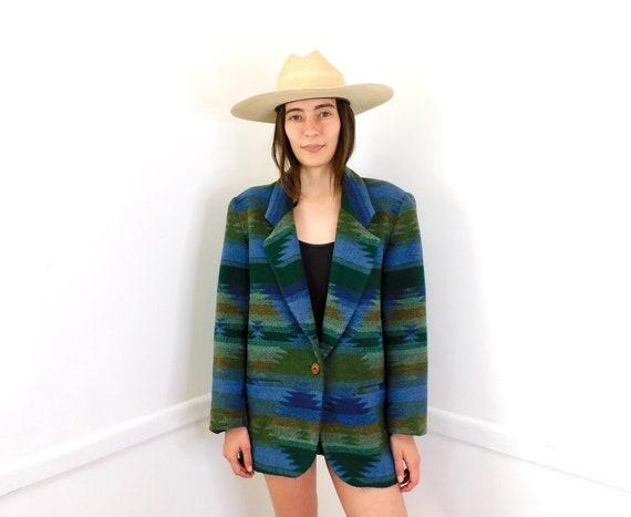 West Texas Wool Blazer Jacket // vintage dress boho hippie blouse 80s 90s southwestern southwest blanket // O/S