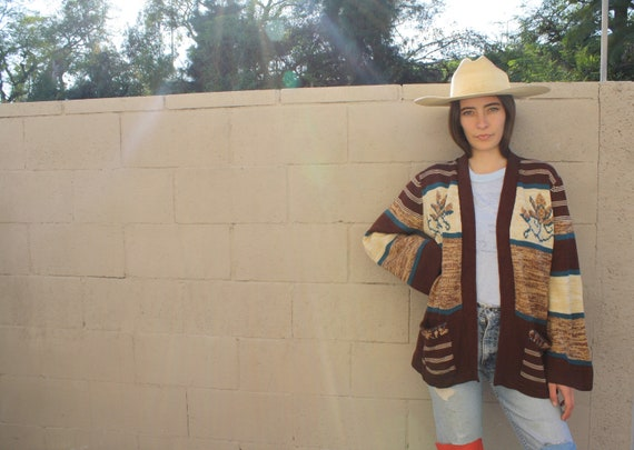 High Desert Cardigan Sweater // vintage 70s embroidered knit boho hippie dress blouse shirt brown hippy 1970s space dye // O/S