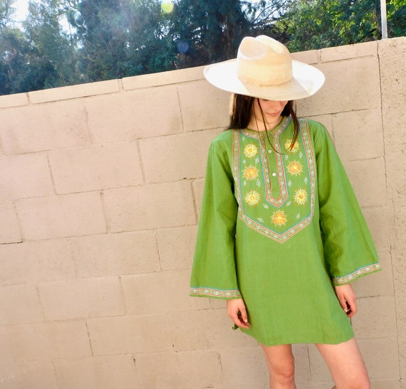 Indian Hand Embroidered Tunic // vintage 70s green dress blouse boho hippie hippy 1970s woven cotton mini // O/S