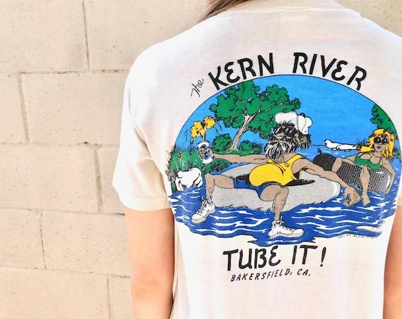 River Rat Tubing Kern Shirt // vintage 80s cotton boho tee t-shirt t top California thin hippy // S/M
