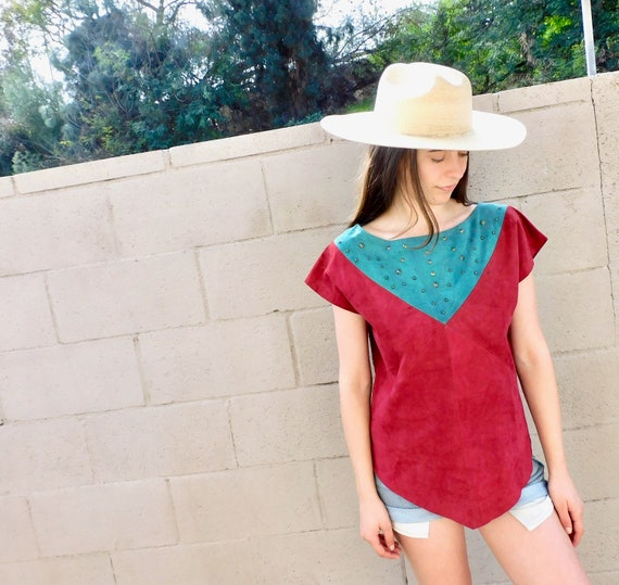 European Suede Blouse // vintage 70s 80s color block leather boho hippie top dress hippy // O/S