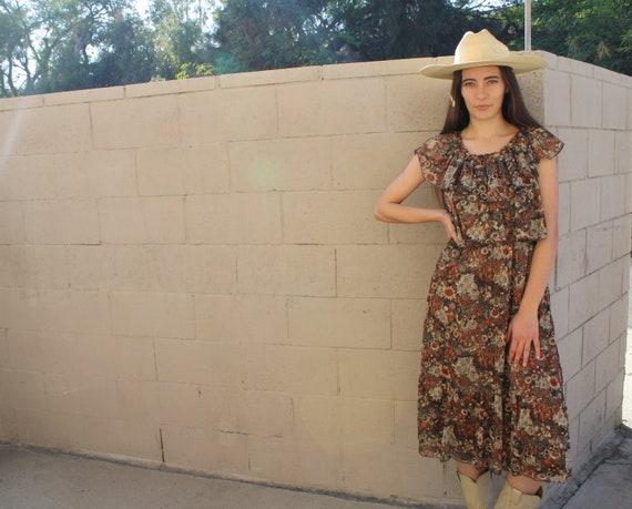 Topanga Canyon Dress // vintage 70s mini boho hippie hippy country high waist brown orange 1970s // S/M