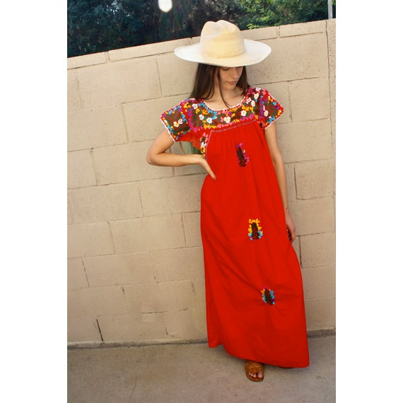Oaxacan Dress // vintage 70s sun Mexican hand embroidered floral maxi 1970s boho hippie cotton hippy red // O/S