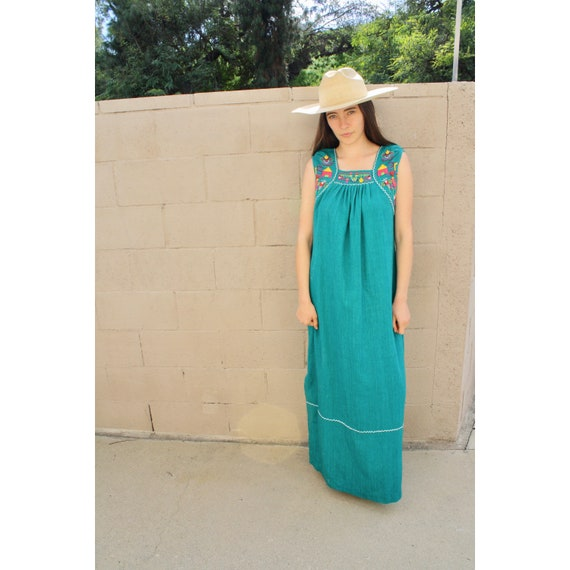 Penelope Dress // vintage 70s cotton hand embroidered green Guatemalan sun boho hippie Mexican maxi 1970s hippy // O/S