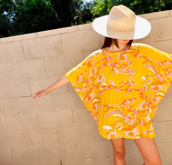 Sunshine Tunic // vintage 70s 1970s boho cotton blouse yellow top shirt hippie mini dress // O/S