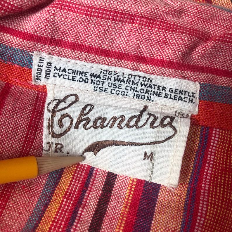 Indian Rainbow Blouse  vintage woven 1970s 70s boho cotton dress red hippie hippy tunic  SM