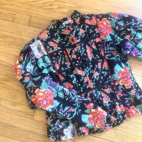 Phool Indian Blouse // vintage 70s jacket floral dress boho hippie 1970s // S/M
