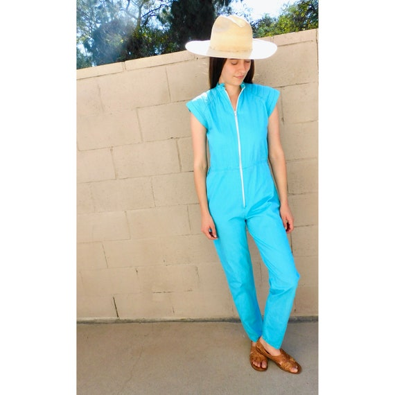 Indian Poolside Jumpsuit // vintage 70s 80s high waist boho hippie turquoise hippy // S Small