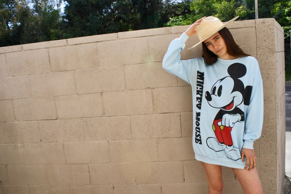 Mickey Sweatshirt // vintage tee t-shirt boho cotton hipster Mickey Mouse t shirt dress sweater blouse Disneyland blue // O/S