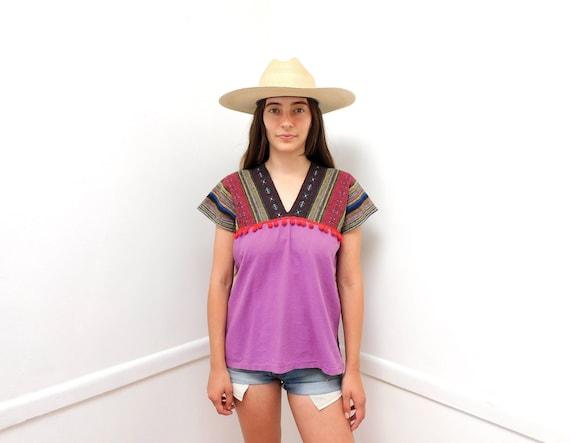 Woven Tunic // vintage 70s dress blouse boho hipp… - image 1