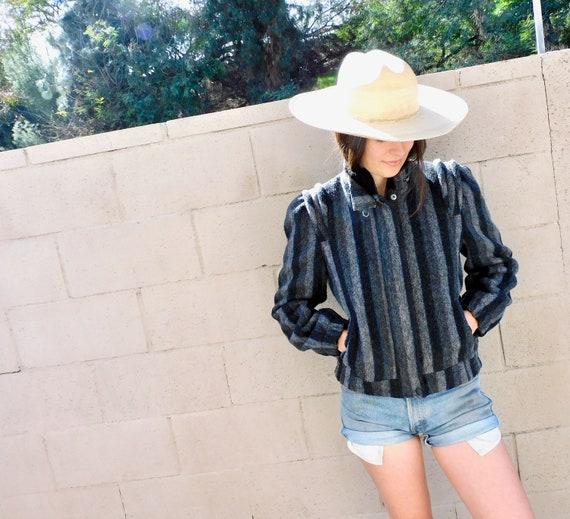 Sergio Valente Wool Jacket // vintage dress boho hippie blouse 70s 80s black blanket // S/M