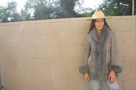 Penny Lane Shearling Coat // vintage 60s 70s grey suede jacket boho hippie leather hippy dress sheepskin // S/M