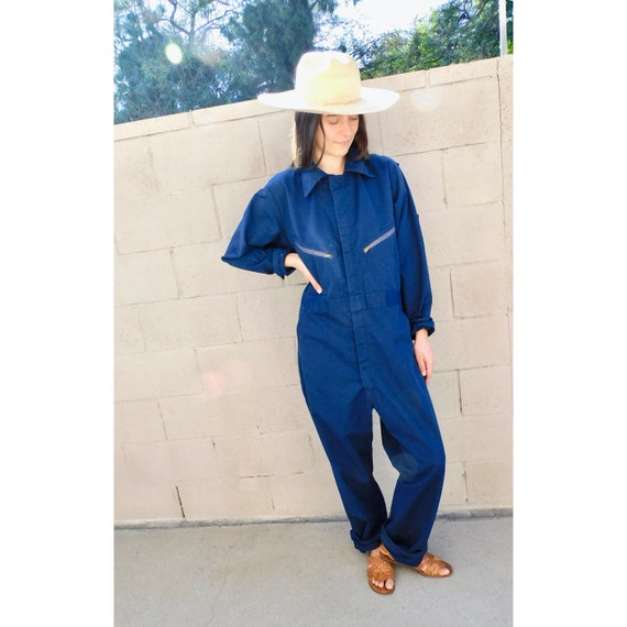 Big Smith USA Embroidered Coveralls // vintage overalls 70s navy blue workwear chore jumpsuit boho hippie dress 1970s oversize // O/S
