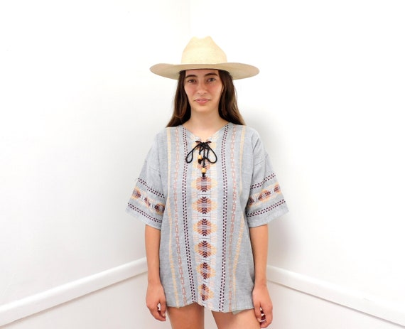 Point Break Blouse // vintage embroidered dress 70s top shirt boho hippie woven tunic cotton Mexican // O/S