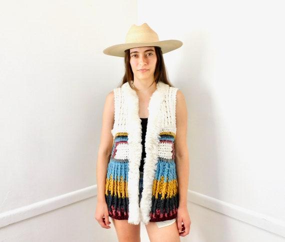 Hand Crochet Vest // vintage 70s knit sun boho hippie crocheted white jacket knit tunic top shirt dress hippy sweater cardigan // S/M