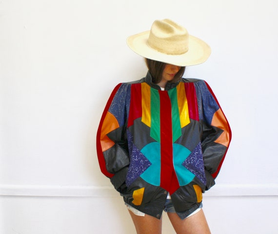 Color Block Leather Jacket // vintage 80s boho dress bat wing blouse avant garde rainbow black neon art 1980s // O/S
