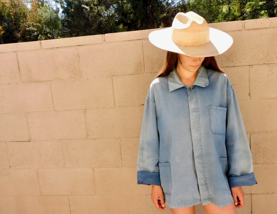French Chore Coat // vintage 70s hippy jean jacket boho hippie distressed blouse shirt dress 1970s cotton blue denim work oversize // O/S