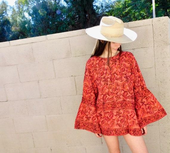 Indian Petal Tunic // vintage 70s mini pink dress blouse boho hippie hippy 1970s cotton India // O/S