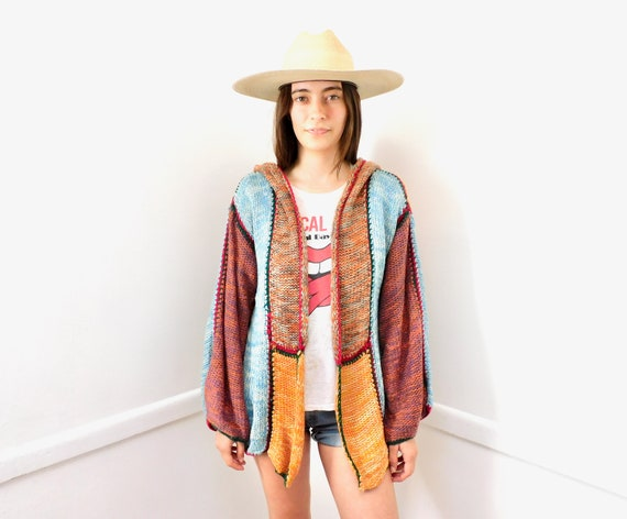 Color Block Cardigan Sweater // vintage 70s knit hippie dress blouse hippy 1970s tunic space dye // O/S