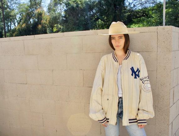 Yankees Reversible Jacket // vintage white blue athletic 1927 World Series baseball hippy hippie NY New York // O/S