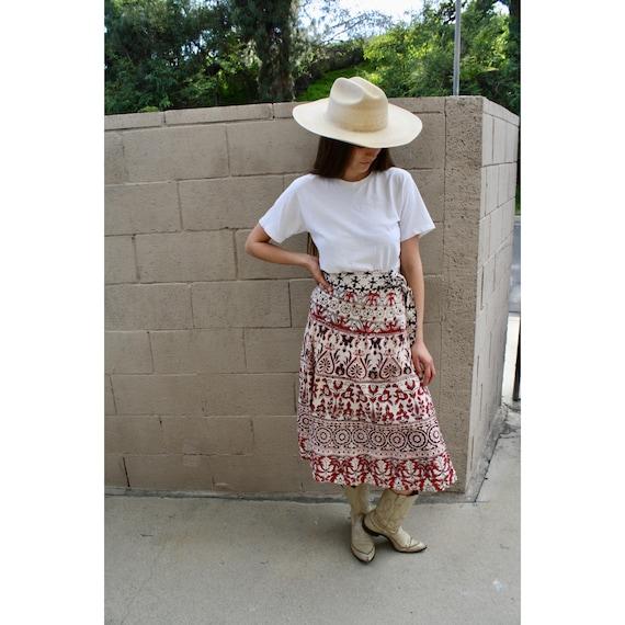Indian Neeta Wrap Skirt // vintage 70s cotton dress boho hippie high waist hippy midi 1970s // O/S